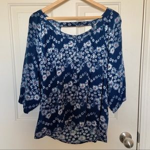 Red Camel Daisy Print Navy Blouse